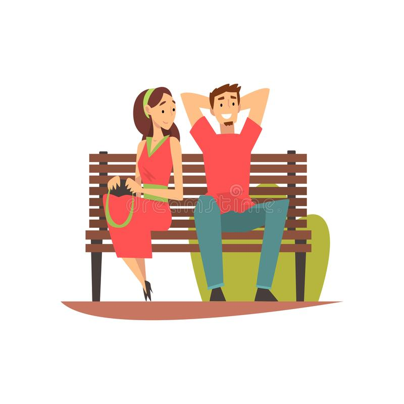 Smiling Young Man and Woman Sitting on Bench in Park, Romantic Couple on  Date Vector Illustration Stock Vector - Illustration of romantic, date:  149557940