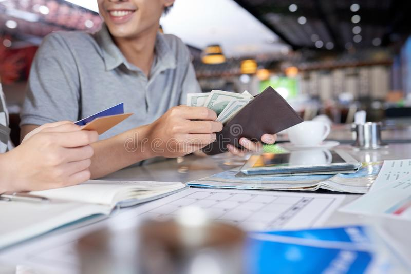 Counting Money for Vacation royalty free stock photos