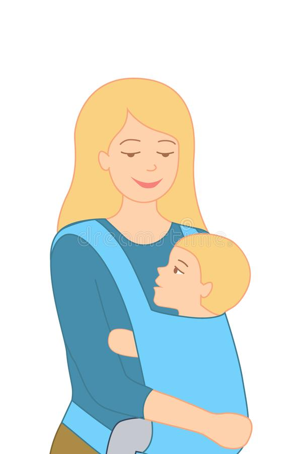 Smiling young mother holding her little baby in ergo backpack. Flat design vector illustration, isolated. Poster, banner vector illustration
