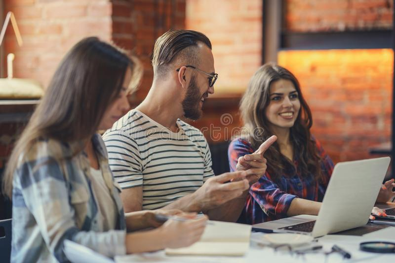 Smiling young people stock image