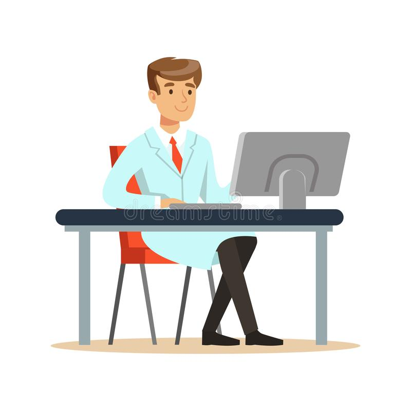 Smiling young professor of computer science sitting behind desk. Software engineer at workplace doing his work. Smart person cartoon character in lab coat stock illustration
