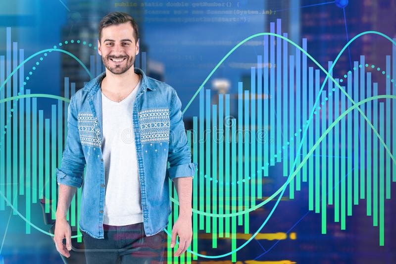 Smiling young programmer, graphs and code. Smiling young programmer standing over blurred city background with graphs and lines of code. Concept of hi tech vector illustration