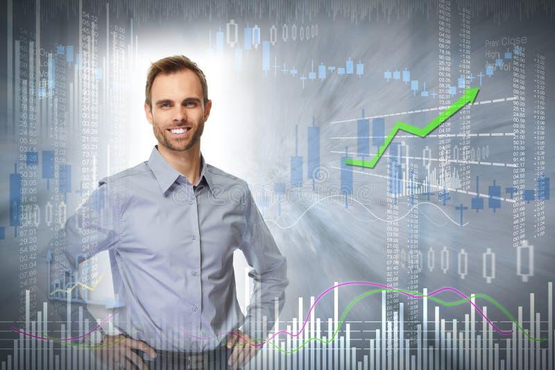 Smiling investor man. stock images