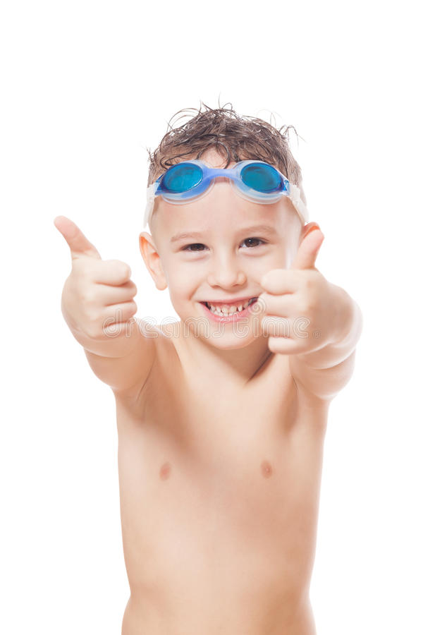 Smiling young swimmer. On isolated white stock photos