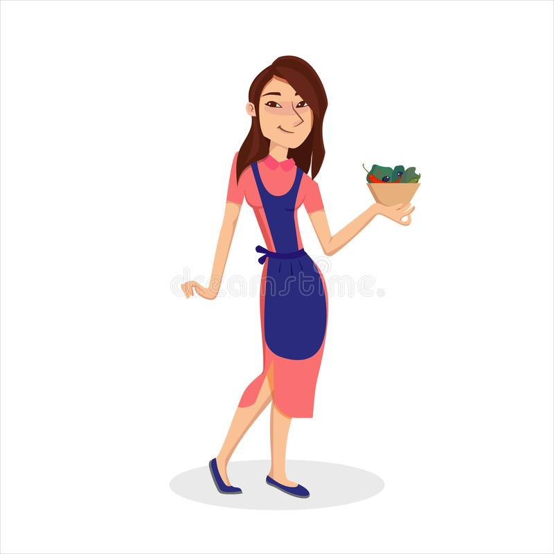 Smiling young Woman in apron holding plate with vegetable salad. Isolated cartoon style character vector illustration royalty free illustration