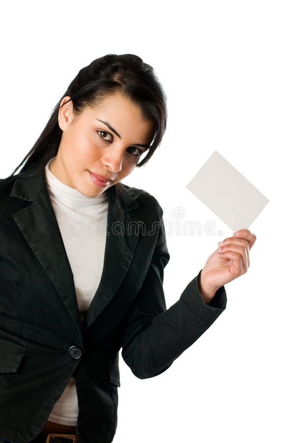 Smiling young woman with blank card royalty free stock photo