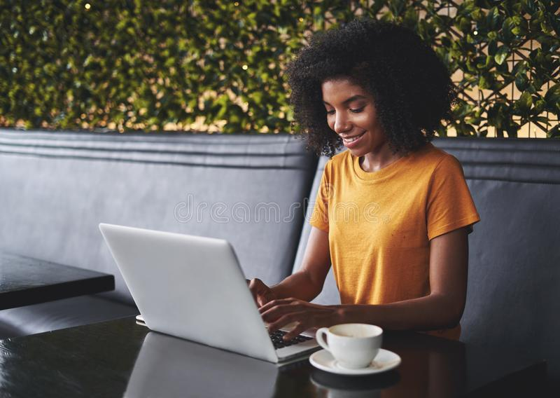 Smiling young woman in cafe typing on laptop royalty free stock photography