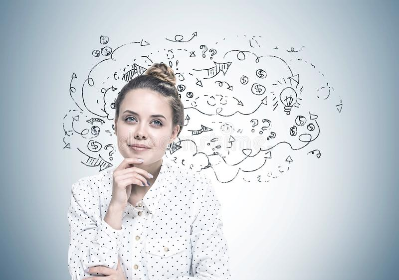 Smiling young woman dreaming, plan stock photography