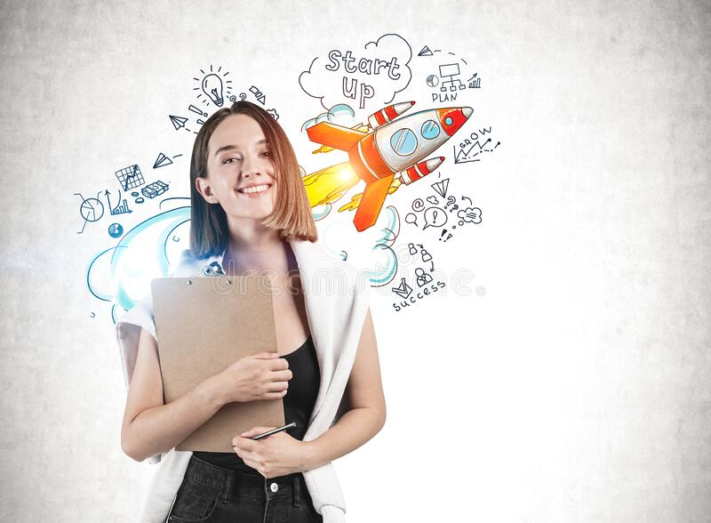 Smiling woman with clipboard, start up sketch stock photo