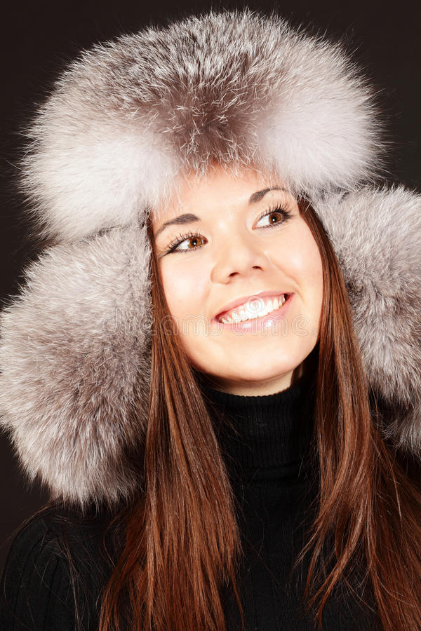 Download Smiling Young Woman In Fur Hat Royalty Free Stock Photos - Image: 17552468