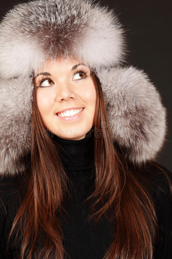 Download Smiling Young Woman In Fur Hat Stock Photography - Image: 17552512
