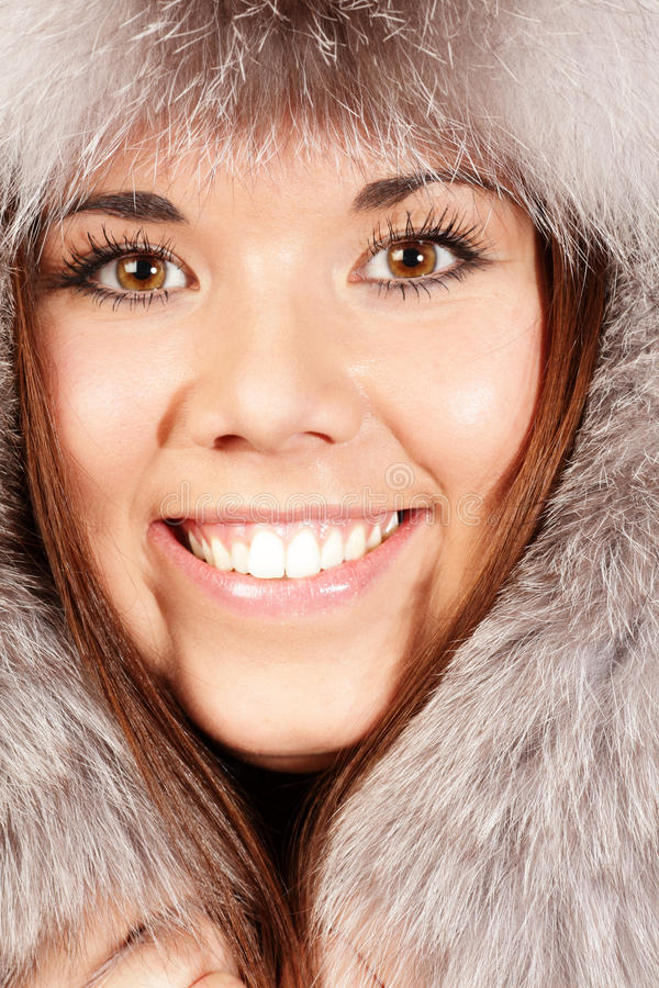 Download Smiling Young Woman In Fur Hat Stock Image - Image: 17552653