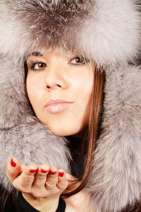 Download Smiling Young Woman In Fur Hat Stock Photo - Image: 17552748