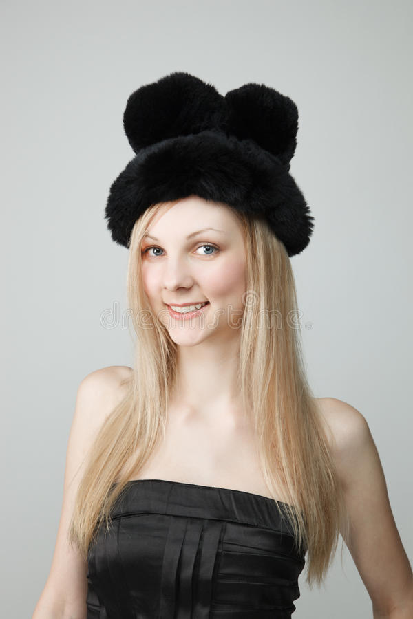 Download Smiling Young Woman In Fur Hat Stock Photo - Image: 26001152