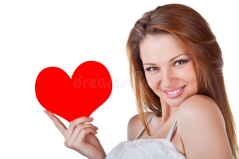 Download Smiling Young Woman Holding A Heart Stock Photo - Image: 22649424