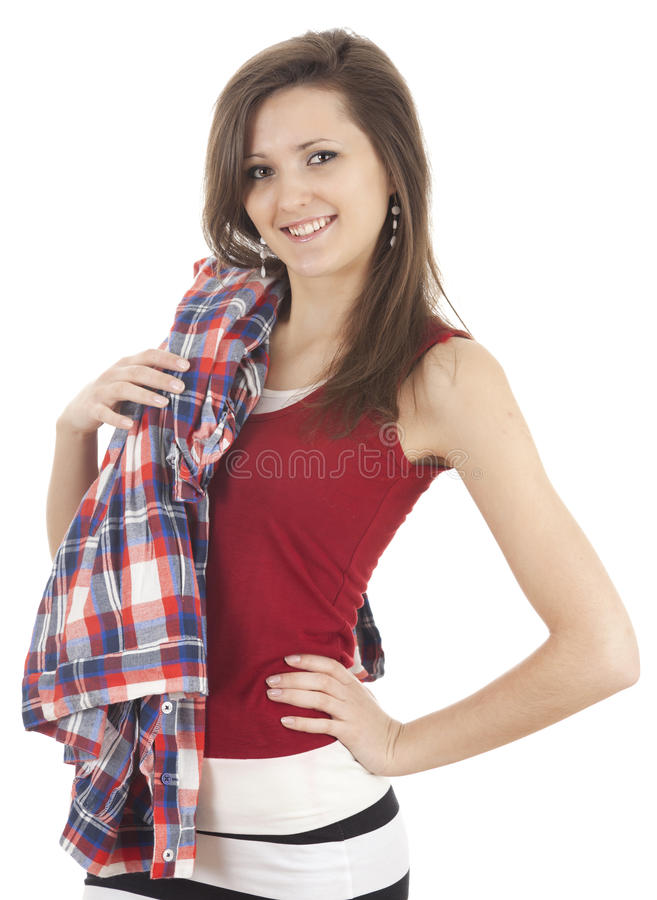Download Smiling Young Woman Looking At The Camera Stock Image - Image of teenage, standing: 24034973