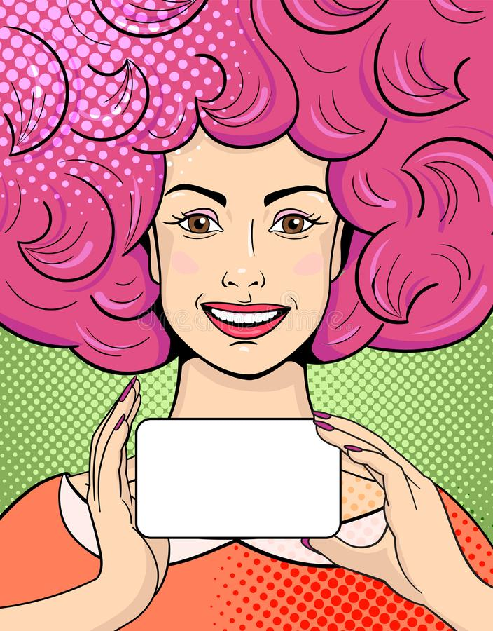 Smiling young woman with pink hair in comic style stock photos