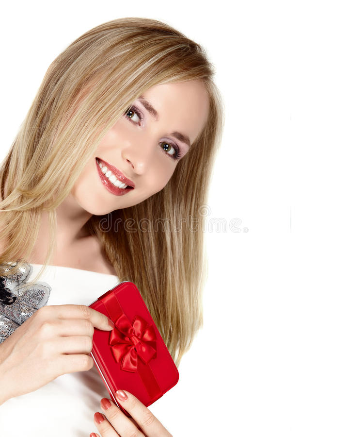 Smiling young woman with red box. stock image