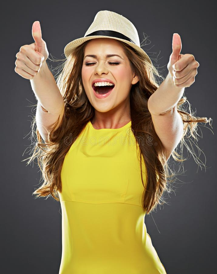 Smiling young woman show thumb up . big toothy smile stock photos