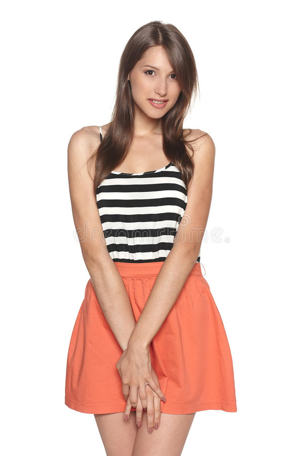 Download Smiling Young Woman Standing In Summer Clothing Stock Photo - Image of pretty, isolated: 31986998