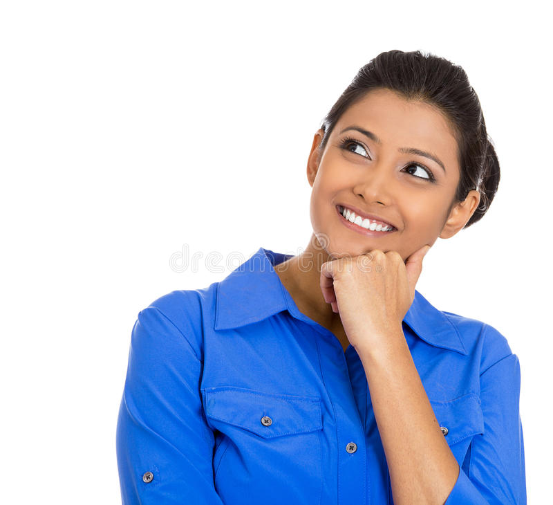 Smiling young woman, student thinking stock photography