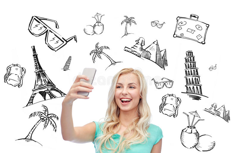 Smiling young woman taking selfie with smartphone stock illustration