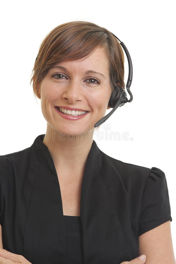 Smiling young woman telemarketer stock photo