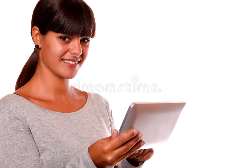 Download Smiling Young Woman Using Her Tablet Pc Stock Image - Image: 28064875