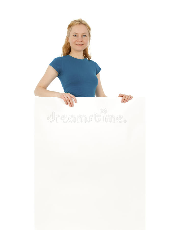 Smiling Young Women Behind A Blank Banner Ad Royalty Free Stock Image