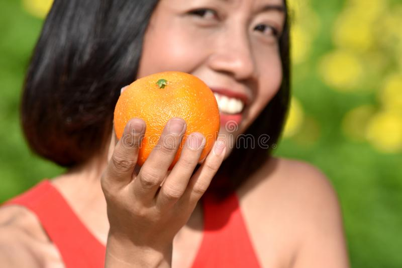Smiling Youthful Filipina Female With An Orange. An attractive and asian person royalty free stock photo