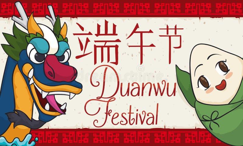 Smiling Zongzi and Dragon Saluting in Duanwu Festival Celebration, Vector Illustration. Cartoon banner with smiling zongzi and dragon boat head, celebrating royalty free illustration