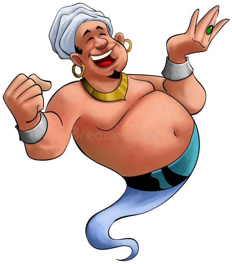 Smilley genie. Happy fat genie smiley in the moment when he appears stock illustration