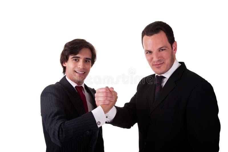 smilling二的生意人信号交换 库存照片