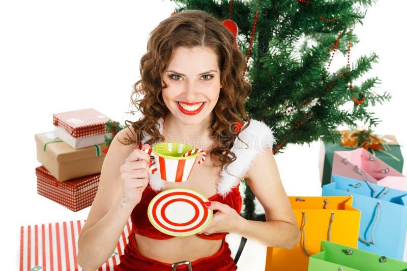 smilling девушка рождества изолированная на белой предпосылке стоковые фото