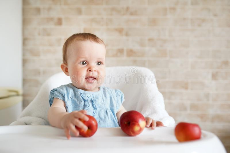 Baby eating fruit. Little girl biting yellow apple sitting in white high chair in sunny kitchen. Healthy nutrition for kids. Solid. Smilling Baby eating fruit royalty free stock photography