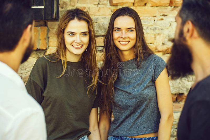 Smilling couples friends stock images