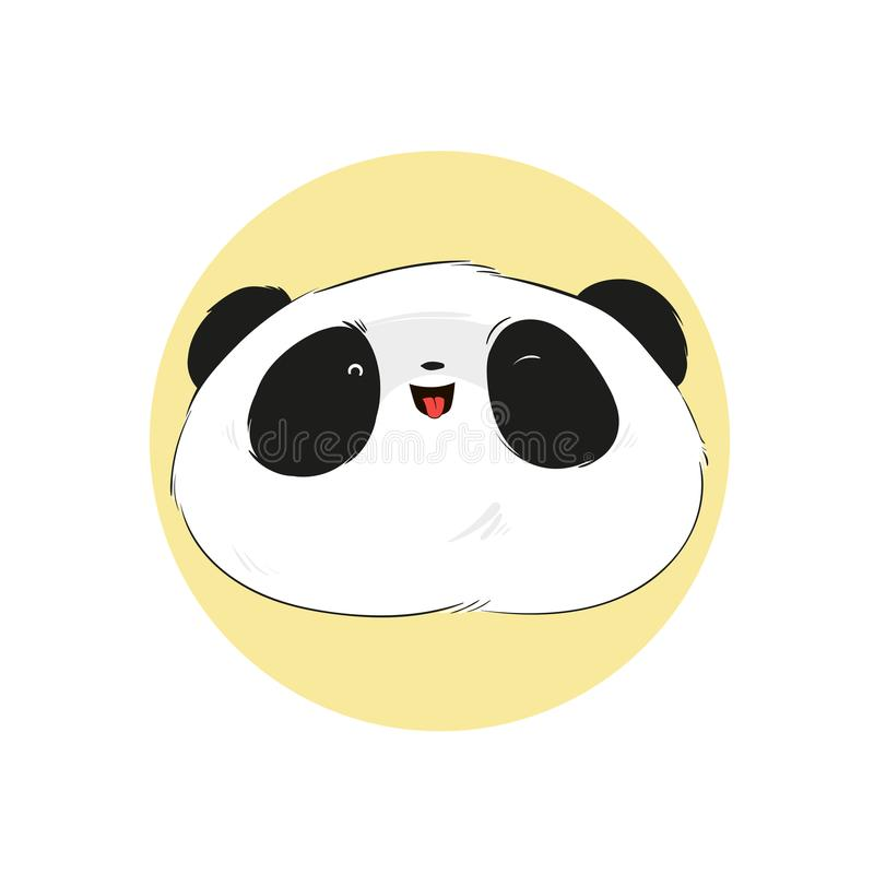 Smilling cute panda face in cartoon style. Vector hand drawn illustration. royalty free illustration