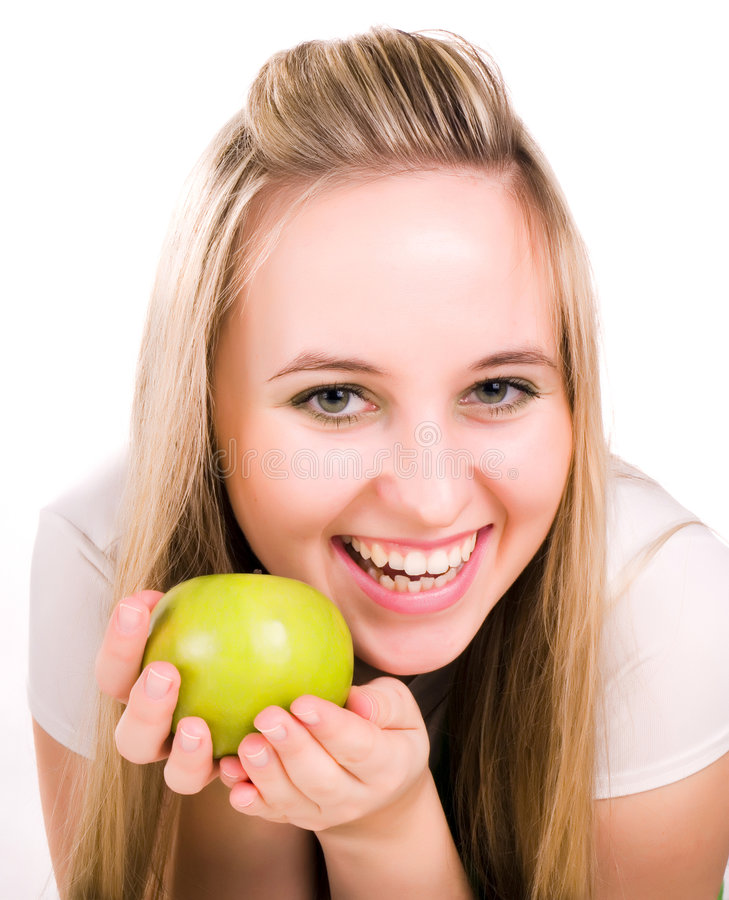 Free Smilling Girl With Green Juicy Apple Stock Photo - 3620560