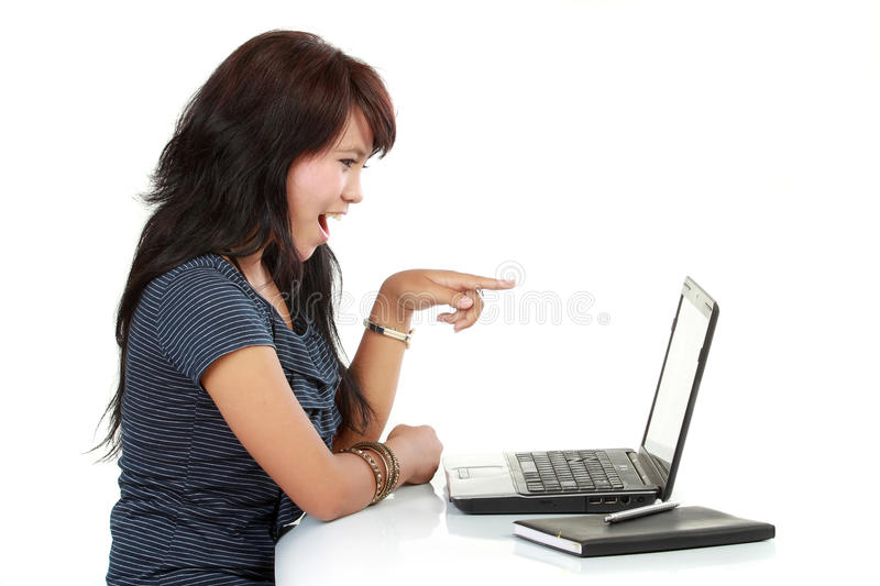 Download Smilling woman on laptop stock photo. Image of attractive - 21399196