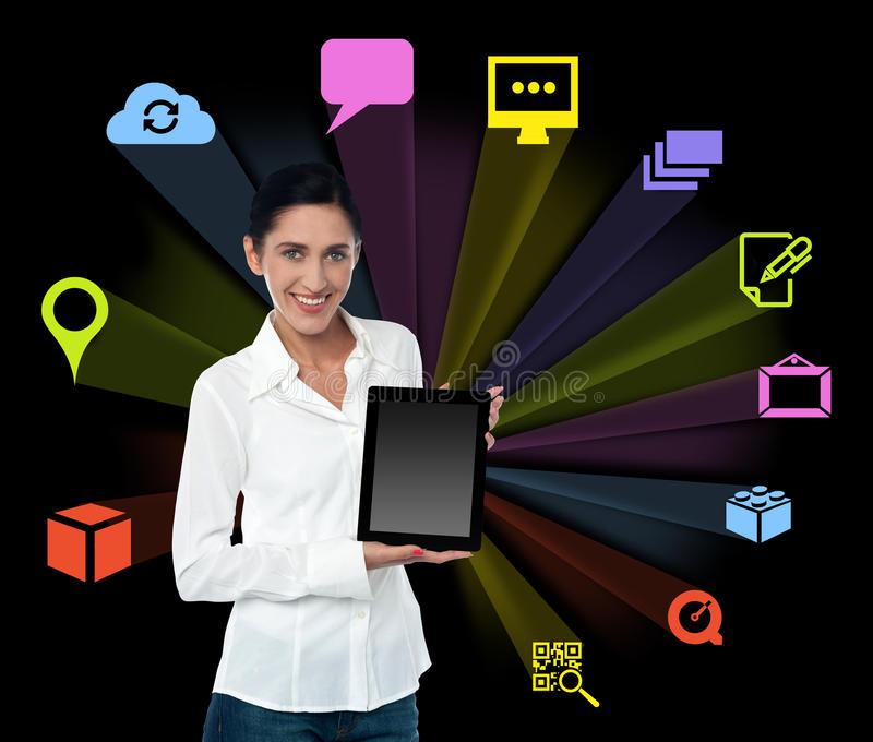 Smilng woman with tablet and colourful icons. Young woman with tablet pc. Apps icons stock illustration