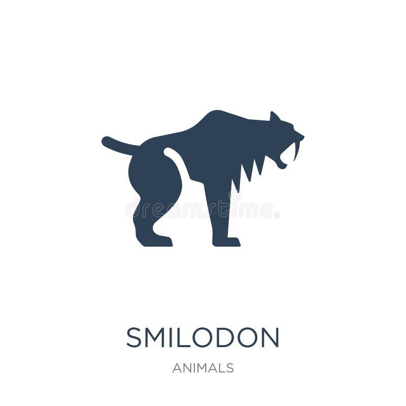 smilodon pictogram in in ontwerpstijl smilodon pictogram op witte achtergrond wordt geïsoleerd die smilodon vectorpictogram eenvo stock illustratie