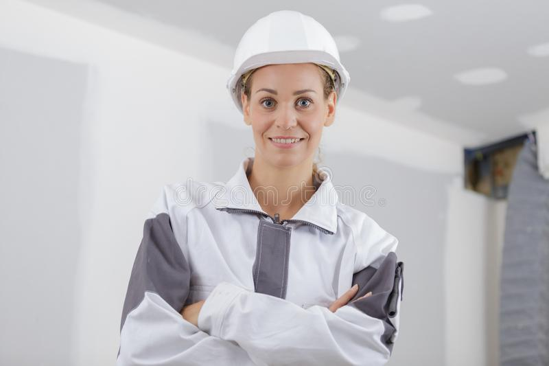 Smily woman builder looking at camera royalty free stock image