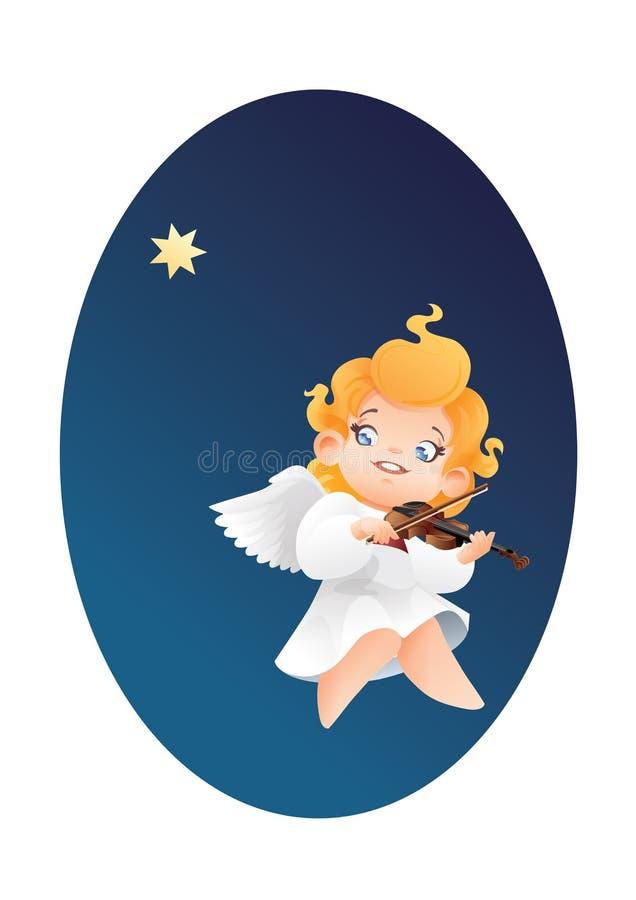 Smilyng flyg på en lek för violinist för musiker för ängel för unge för natthimmel royaltyfri illustrationer