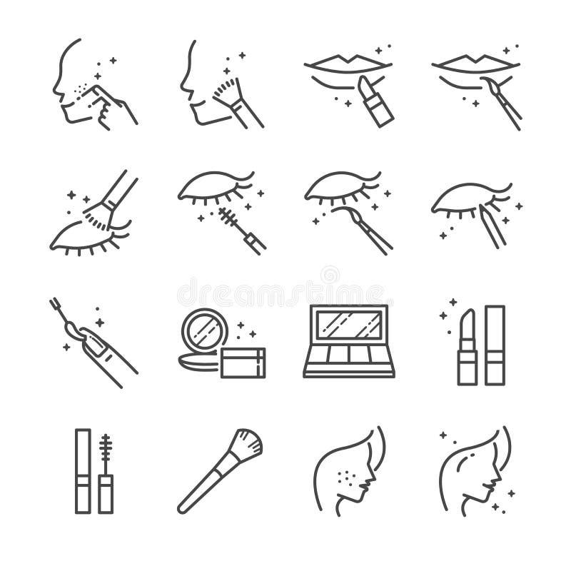 Smink och kosmetisk linje symbolsuppsättning 1 Inklusive bearbetar symbolerna som skönhet, kvinnaframsidan, läppstift, ögonskugga stock illustrationer