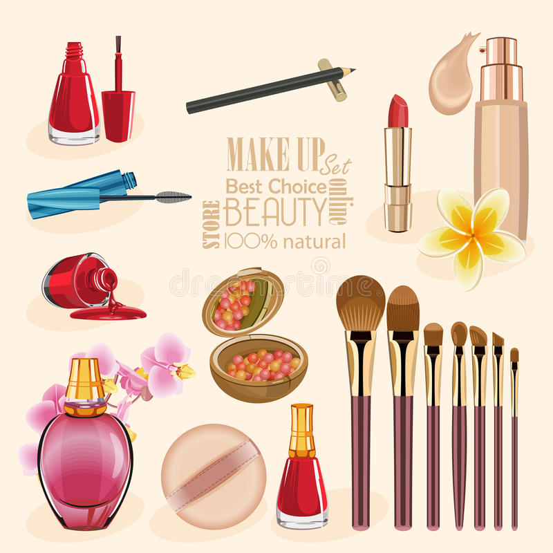 Smink- och skönhetsymboluppsättning royaltyfri illustrationer