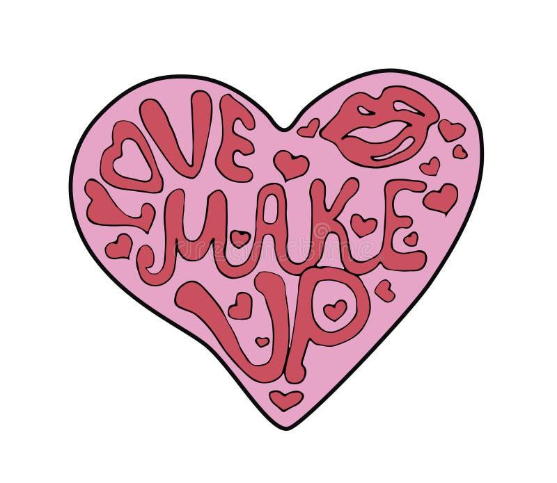 Sminkhjärta som fylls med bokstäver vektor illustrationer