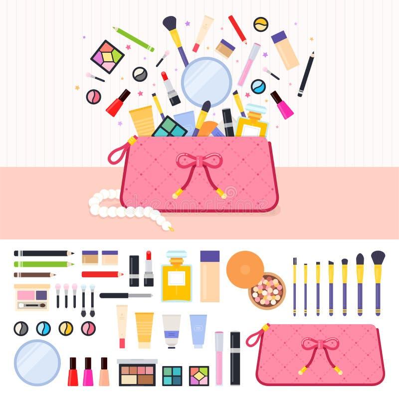Sminkpåse mycket av skönhetsmedel stock illustrationer