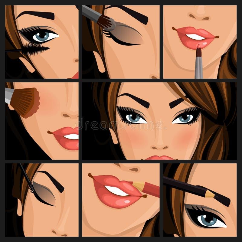 Sminkskönhetkvinna vektor illustrationer