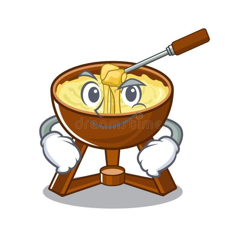 Smirking cheese fondue with in mascot shape. Vector illustration vector illustration