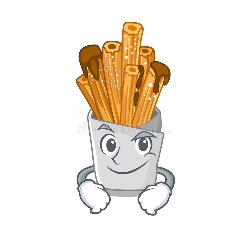 Smirking churros isolated with in the cartoon. Vector illustration vector illustration